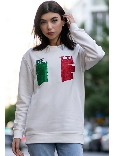 Bernotti 79 Beyaz Baskı Detaylı Sıfır Yaka Kadın Sweatshirt Beyaz